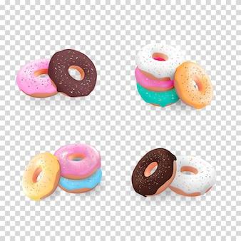 Gran colección de donuts dulces sabrosos 3d realistas con glaseado de diferentes colores aislado