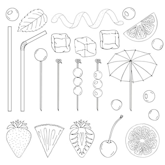 Gran colección de elementos para la decoración de cócteles.