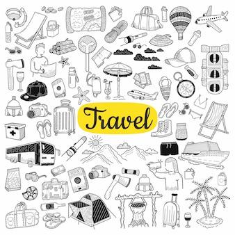 Gran colección de elementos de viaje.
