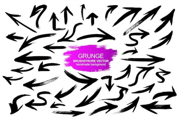 Gran colección de flechas grunge.