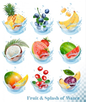 Gran colección de fruta en un chapoteo de agua. piña, mango, plátano, pera, sandía, arándano, guayaba, fresa, coco, grawberry, frambuesa. conjunto