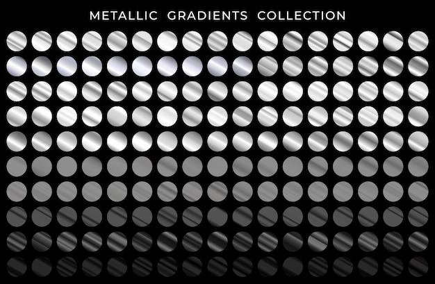 Gran colección de gradientes metálicos plateados y negros.