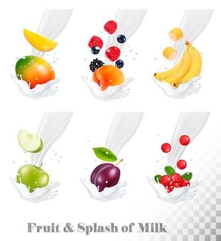 Gran colección de iconos de frutas y bayas en un chorrito de leche. fresa, manzana, ciruela, arándano, plátano, melocotón, mora, arándano.