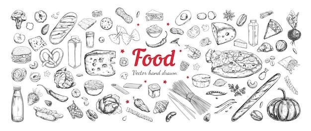 Gran colección de ingredientes alimentarios.