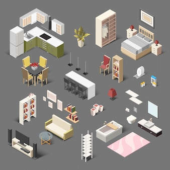 Gran colección isométrica de muebles domésticos para sala de estar, baño, dormitorio y cocina.