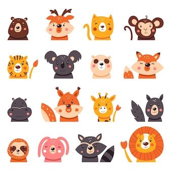 Gran colección de lindos animales de dibujos animados.