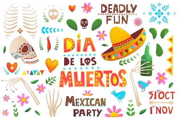 Gran colección mexicana de símbolos del día de muertos.