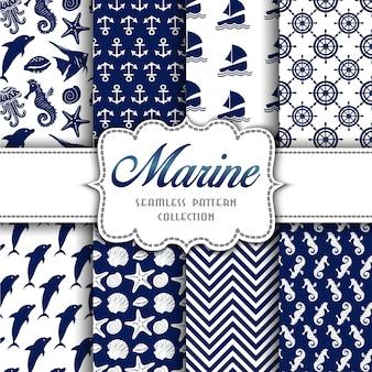 Gran colección de patrones sin fisuras con elementos marinos.
