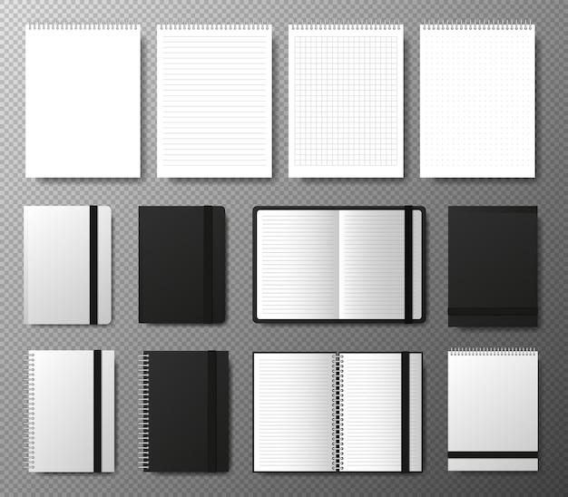 Gran colección plantilla de cuaderno abierto y cerrado negro en blanco realista con banda elástica y marcador sobre fondo transparente cuatro cuadernos realistas líneas y puntos página de papel