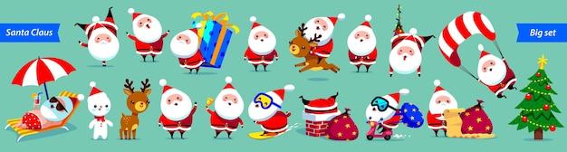 Gran colección de santa claus. lindos personajes de dibujos animados con diferentes emociones y elementos navideños.