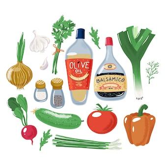 Gran colección de set de ingredientes de ensalada de verduras.