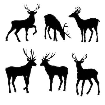 Gran colección de siluetas de ciervos