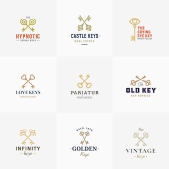 Gran colección de símbolos de llaves retro