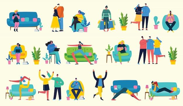 Gran collage de la actividad de las personas en casa: tocar la guitarra, hacer yoga, leer libros, trabajar en la computadora portátil, una pareja enamorada, celebrar. ilustración de estilo plano.
