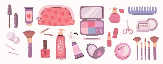 Gran collage de cosméticos y productos de cuidado corporal para maquillaje.
