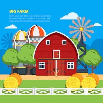 Gran composición plana de la granja