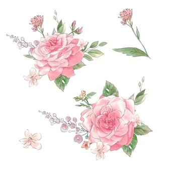 Un gran conjunto de acuarelas rosas tiernas de super calidad.