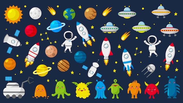Gran conjunto de adorables astronautas en el espacio, planetas, estrellas, extraterrestres, cohetes, ovnis, constelaciones, satélite, vehículo lunar. ilustracion vectorial
