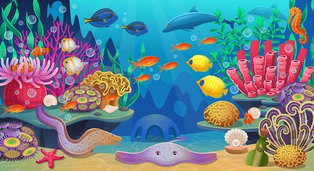 Gran conjunto de arrecifes de coral con algas, peces tropicales y corales. ilustración.