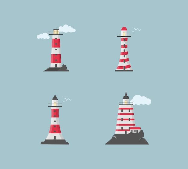 Gran conjunto de balizas planas. faros con nubes en diseño plano. busque torres con un haz de luz de búsqueda para la navegación marina de barcos. ilustración.