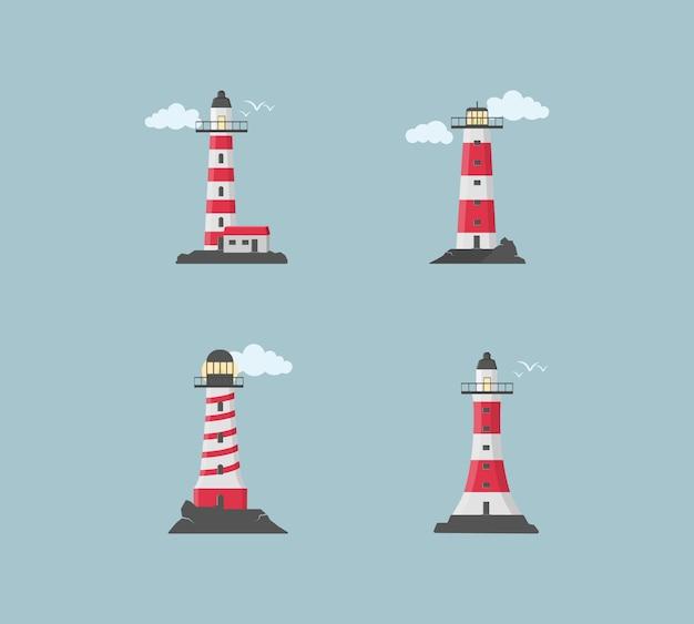 Gran conjunto de balizas planas. faros con nubes en diseño plano. busque torres con un haz de luz de búsqueda para la navegación marina de barcos.