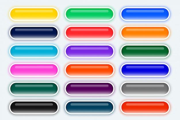 Gran conjunto de botones anchos web redondeados