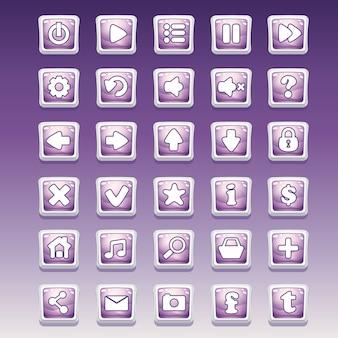 Gran conjunto de botones cuadrados con diferente imagen glamorosa para la interfaz de usuario y el diseño web