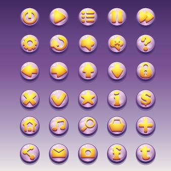 Gran conjunto de botones glamorosos con diferentes imágenes para la interfaz de usuario y el diseño web.