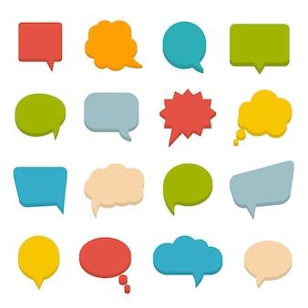 Gran conjunto de burbujas de comunicación de colores, ilustración vectorial