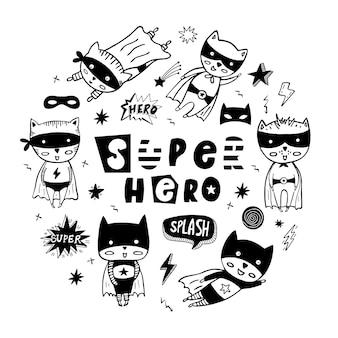 Gran conjunto de burbujas de discurso, estrellas, máscaras y superhéroes de dibujos animados.