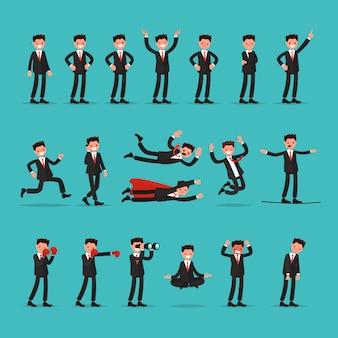 Gran conjunto de caracteres de empresario con diferentes poses y acciones.