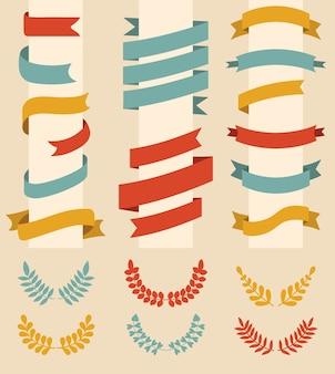 Gran conjunto de cintas y corona de laurel de diferentes colores en estilo plano moderno.