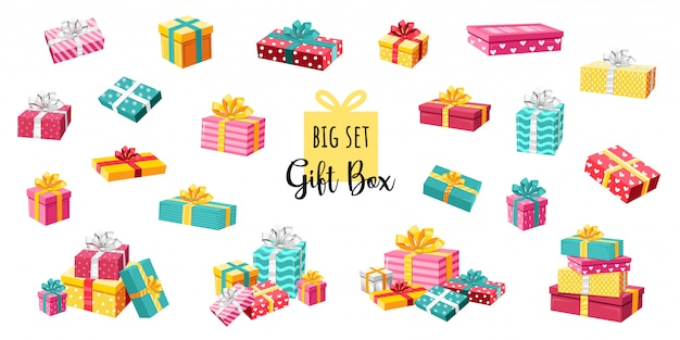 Un gran conjunto de coloridas cajas de regalo envuelto. un montón de regalos decorado con cintas y lazos. sorpresa. ilustración volumétrica en estilo de dibujos animados aislado en blanco.