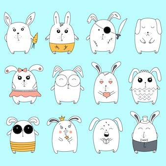 Gran conjunto con conejos dibujados a mano.