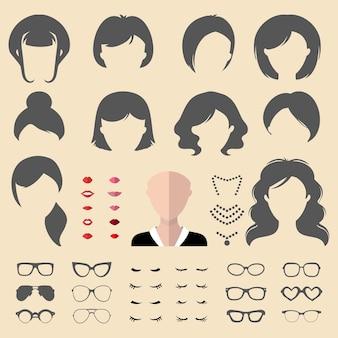 Gran conjunto de constructor de disfraces con diferentes cortes de pelo de mujer, gafas, labios, pestañas, ropa, joyas en un moderno estilo plano. creador de iconos de rostros femeninos.