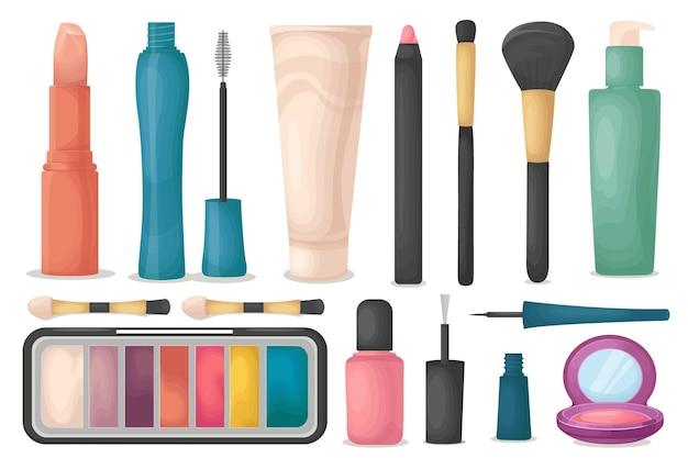 Gran conjunto de cosméticos aislado