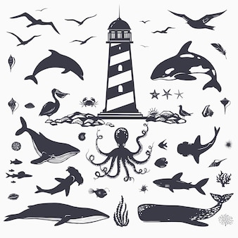 Gran conjunto de criaturas marinas y animales marinos aislados en delfines blancos, ballenas, tiburones, peces, aves