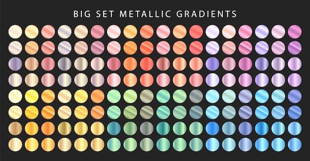 Gran conjunto de degradados metálicos. conjunto de metal de diferentes colores.
