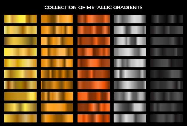 Gran conjunto de degradados de oro, bronce, plata y negro. Vector Premium