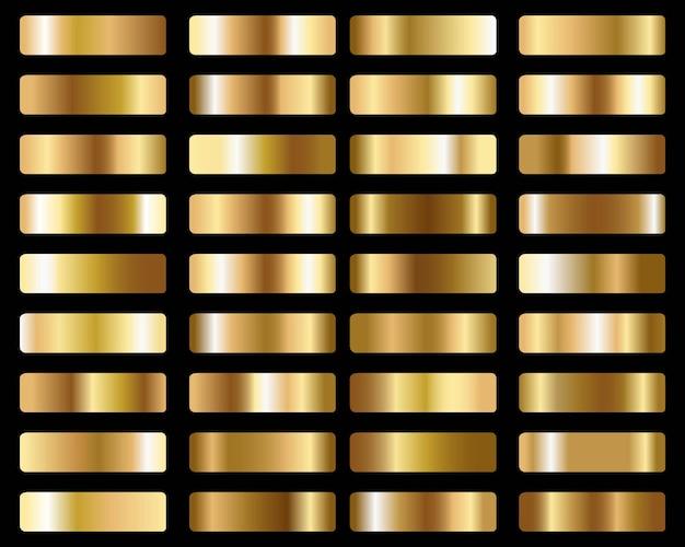 Gran conjunto de degradados de oro metálico