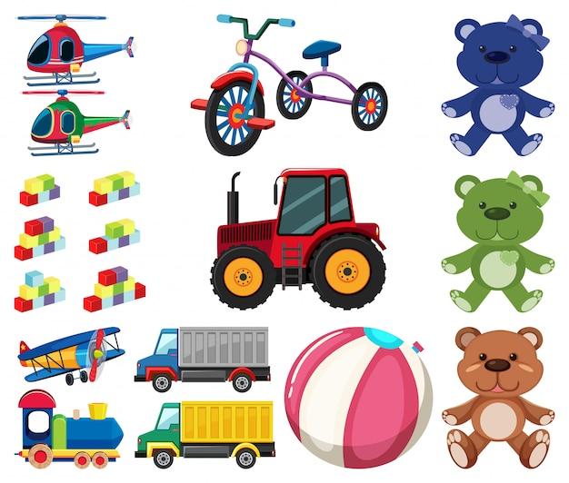 Gran conjunto de diferentes juguetes sobre fondo blanco.