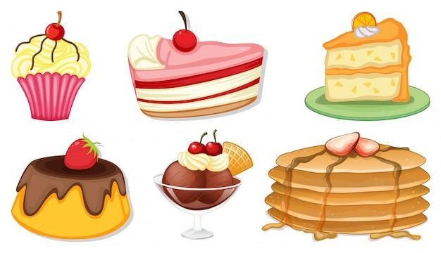 Gran conjunto de diferentes menús para postres sobre fondo blanco.