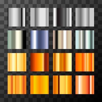 Gran conjunto de diferentes muestras de gradientes de metal plateado y dorado