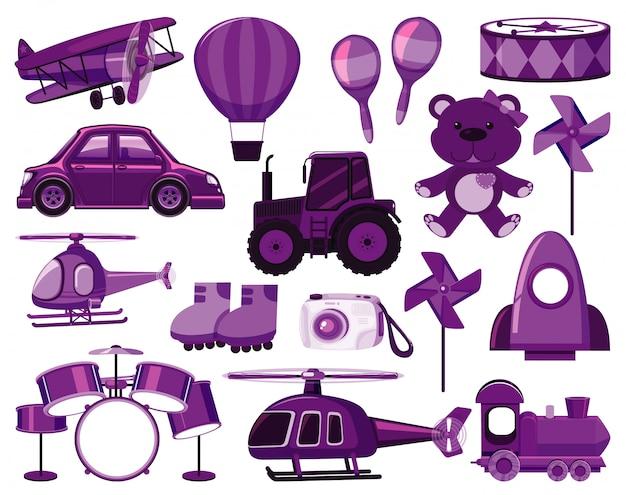 Gran conjunto de diferentes objetos en morado