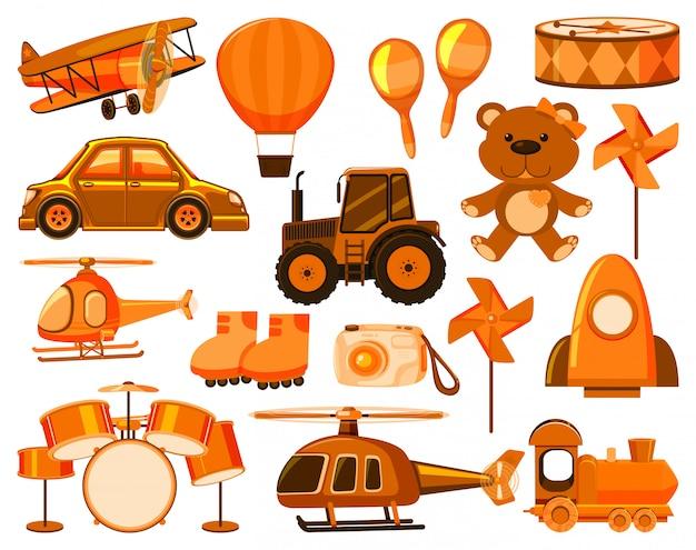 Gran conjunto de diferentes objetos en naranja.