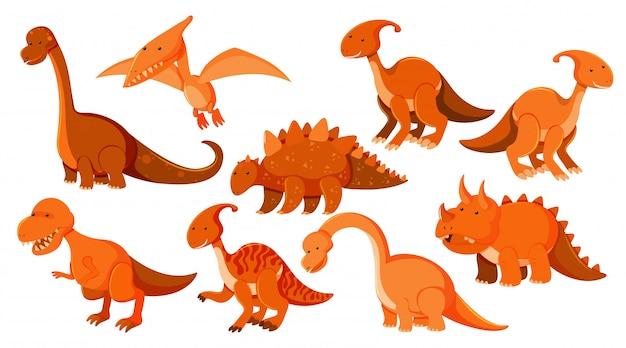 Gran conjunto de diferentes tipos de dinosaurios en naranja.