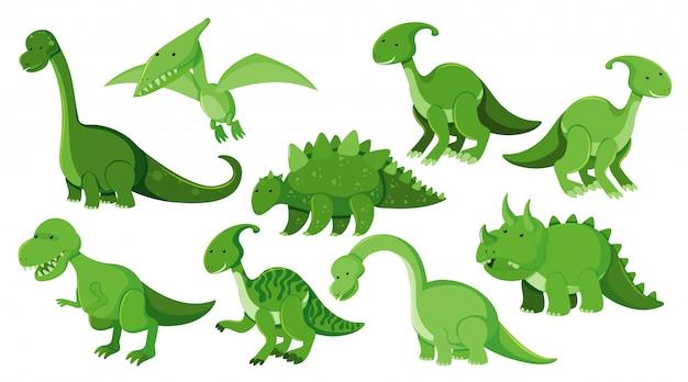Gran Conjunto De Diferentes Tipos De Dinosaurios En Verde Vector Premium Descubre en expertoanimal la era de los dinosaurios, así como varios tipos de dinosaurios herbívoros, junto a sus nombres, características y fotografías. gran conjunto de diferentes tipos de