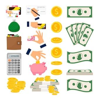 Gran conjunto de dinero en efectivo y monedas.