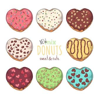 Gran conjunto de donuts glaseados decorados con coberturas, chocolate, nueces.