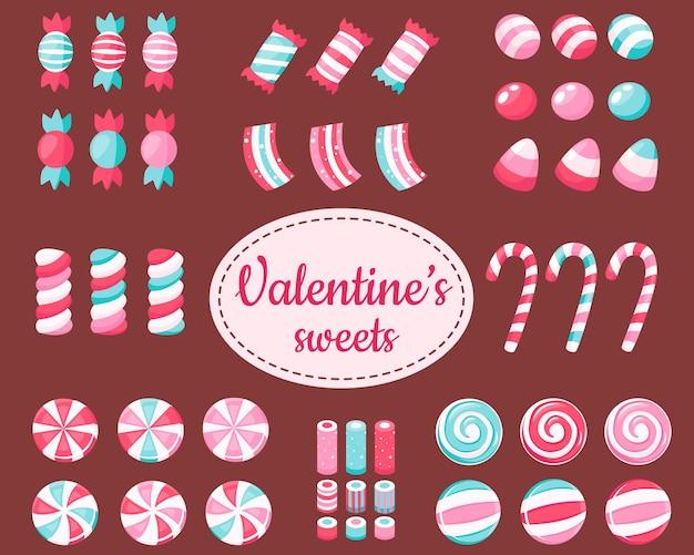 Gran conjunto de dulces y caramelos de san valentín.